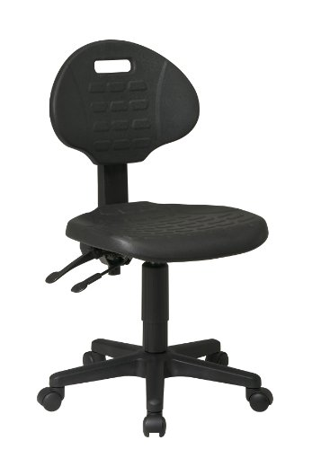 (Office Star Ergonomic Urethane Chair with Seat Tilt and Back Angle Adjustment, Black)