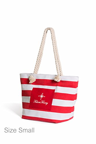 Fishers Finery Heavy Canvas Striped Beach Bag with Rope Handle (Red, S)