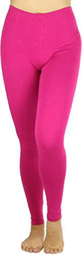 - ToBeInStyle Women's Premium Full Length Cotton Leggings - Magenta - Small