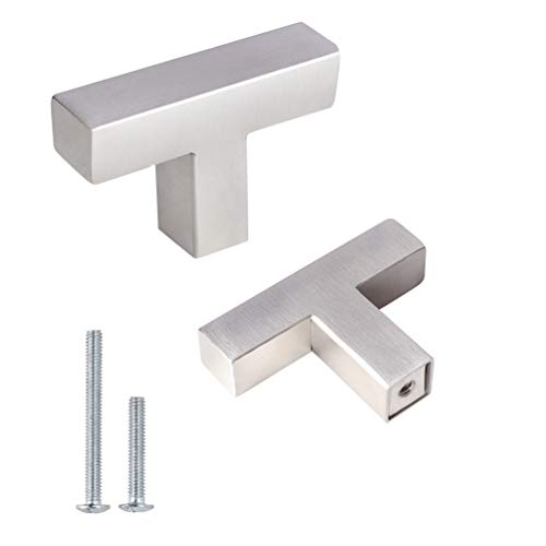 5 Pack Square T Bar Single Hole Knobs Brushed Nickel Cabinet Pull Drawer Handles 2 inch Overall Length Stainless Steel Modern Hardware for Kitchen and Bathroom Cabinets Cupboard ()