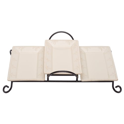 Signature Housewares Stoneware Serving Trays in Tiered Caddy, Ivory, Set of 3 (Wrought Iron Dessert)