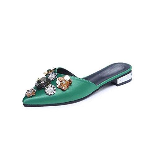 De De Zapatillas Simple Agua Ocho Zapatos Verano Y Pereza Y La Mitad Verde Y Raso Zapatillas Primavera KHSKX Floral Treinta nine De La Thirty De Bordado Perforar Mujer Zapatos El nZxT0qpXg