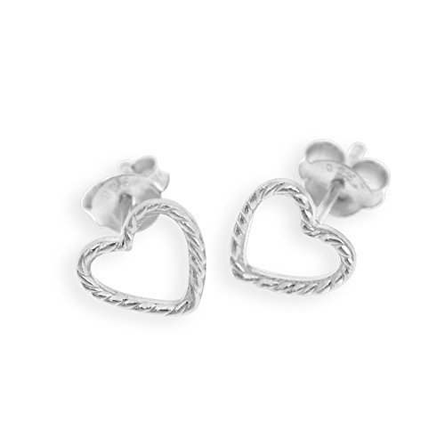 Silver Sterling Heart Shape Earrings (Sterling Silver Hollow Heart Shape Stud Earring)