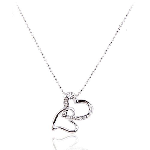 Double Heart Silver Tone Pendant Necklace for Women Adjustable Length 01000789-1 (Pave And Crystal Necklace)