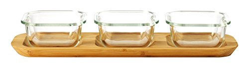 Leonardo 034315 Set 4-teilig Glas Ofenformen Gusto 9 x 9 cm mit Servierplatte