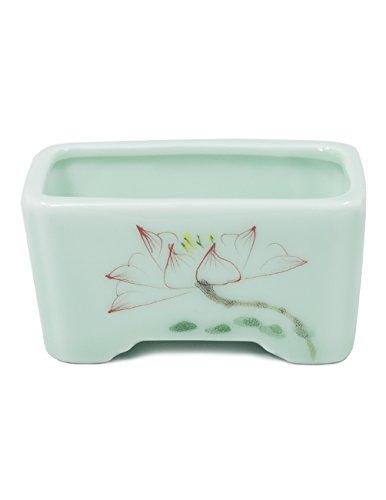 Dahlia Celadon Glaze Lotus Hand Painted Ceramic Succulent Planter/ Plant Pot/ Flower Pot, (Hand Painted Flower Pot)