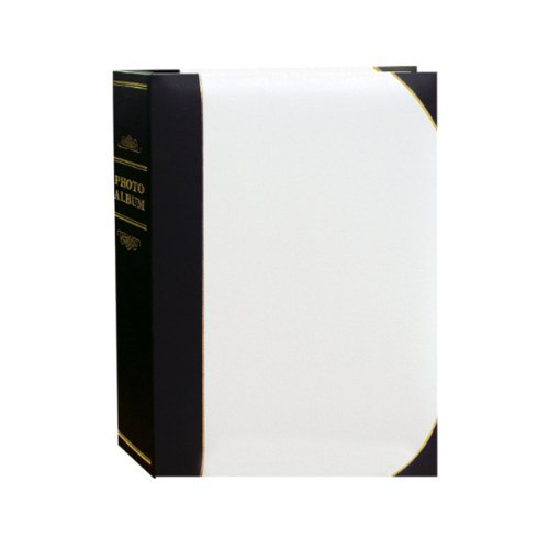 Pioneer Photo Albums BT-68 100-Pocket Leatherette Cover Ledger Style Le Memo Photo Album, 6 by 8-Inch, White and Black by Pioneer Photo Albums