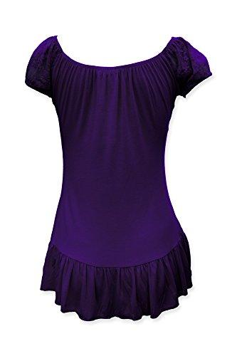 Mesdames dentelle Pourpre blouse top gitane BlackButterfly dq05Yd