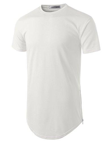 URBANCREWS Mens Hipster Hip Hop Basic Longline Crewneck T-Shirt White Medium