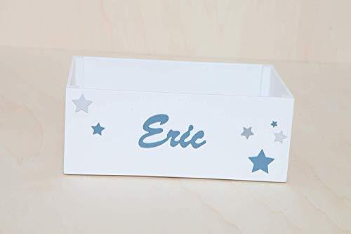 Caja madera con nombre personalizada para pañales, juguetes o cuentos bebes y niños hecho a mano. Canastilla nacimiento. Regalo para nacimento. Infantil. Handmade: Amazon.es: Handmade