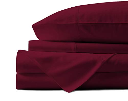 Mayfair Linen 100% Egyptian Cotton Sheets, Burgundy Queen Sheets Set, 800 Thread Count Long Staple Cotton, Sateen Weave for Soft and Silky Feel, Fits Mattress Upto 18'' DEEP Pocket (Red Sheet Set Queen Cotton)