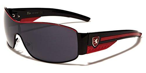 Khan Metal Wire Rim Frame Men's Sport Shield Sunglasses - Black & - Rim Sunglasses Metal