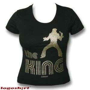 Logoshirt–The King banda Girlie–Camiseta, color negro