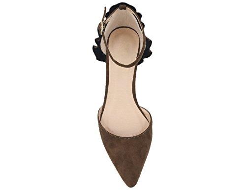 Da Marrone Pompe Vestito Cinghia Caviglia Della Donna Scarpe Maxmuxun Appuntita Gattino Punta Tacco Della nWaEFxgndw