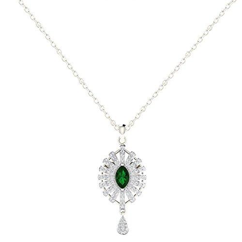 Libertini pendentif argent 925 femme serti de Diamant et Émeraude