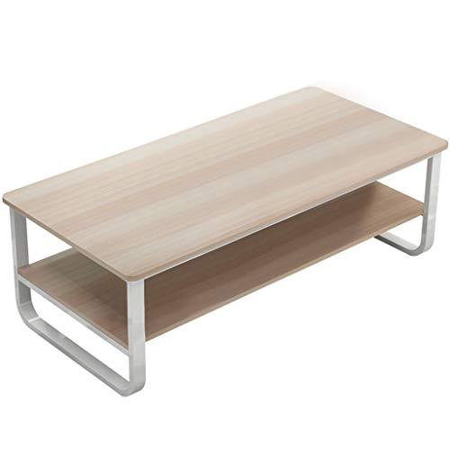 Quelife Rectangular Coffee Table 2-Tier Rectangular Storage Open Shelf Table, Oak/White
