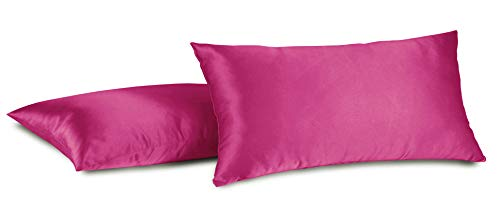 Aiking Home 100% Polyester Bridal Satin Luxury Pillowcases - Set of 2 Invisible Zipper Pillowcases - Machine Washable - (Standard 20x26 inch, Hot Pink) ()