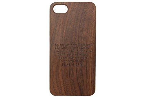 (for Apple iPhone 7 & 8 Black Walnut Wood Phone Case NDZ Bible Psalm 23:4)