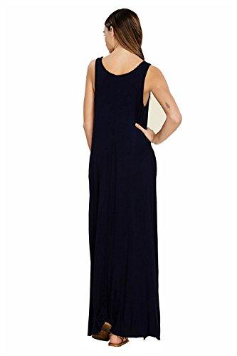 Beach Summer Long Womens Dress Pockets Blue Maxi Sleeveless Zalaor Casual Dress Dark qYwxBSS75