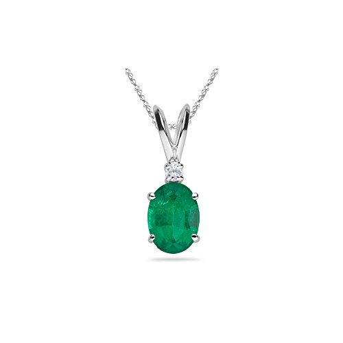 (0.02 Cts Diamond & 0.84-1.35 Cts of 8x6 mm AA Oval Natural Emerald Solitaire Pendant in 14K White)