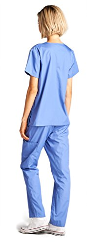 Dagacci Medical Uniform Woman and Man Scrub Set Unisex Medical Scrub Top and Pant, CEIL BLUE, S