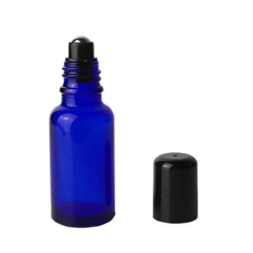 Home Fragrance Oil New Bottle - 4 Pcs NEW Blue Glass Roller Bottles Empty Refillable Essential Oil Roll On Bottles Fragrance Perfume Cosmetic Lotion Sample Metal Roller Ball Bottles With Black Plastic Cap (20ml)