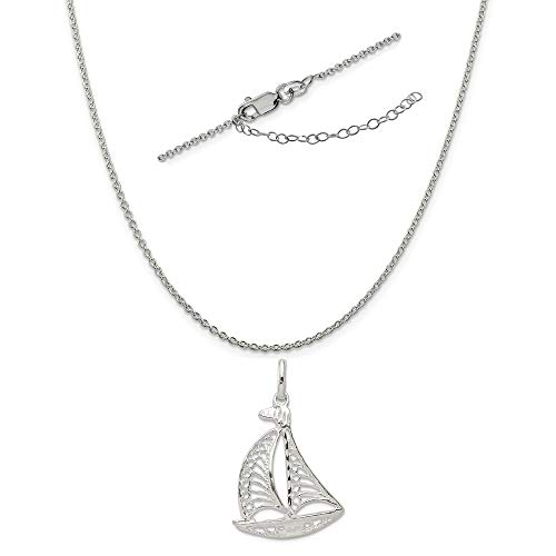 (Sterling Silver Filigree Sailboat Charm on a 1.25mm Cable Chain Necklace, 18