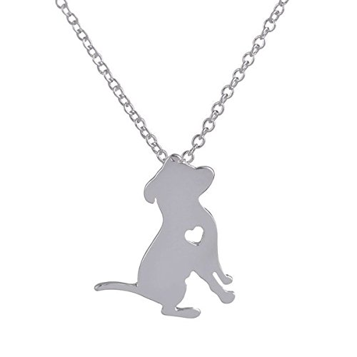 Art Attack Silvertone I Love My Dog Lover Heart Outline American Pitbull Terrier Pet Puppy Rescue Pendant Necklace