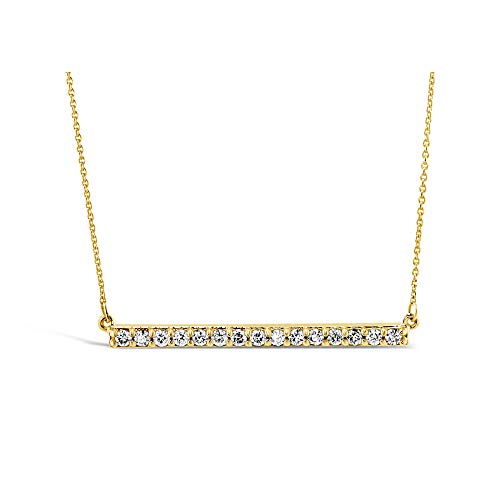 Brilliant Expressions 10K Yellow Gold Horizontal Bar 1/4 Cttw Conflict Free Diamond Pendant Necklace (I-J Color, I2-I3 Clarity), 16 inch