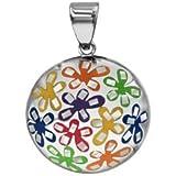 1001 Bijoux - Pendentif acier stella mia rond bombé résine motif fleurs multicolor avec nacre