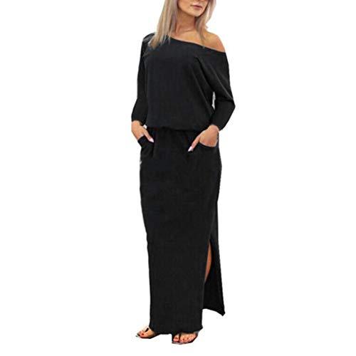 Smock Maxi (HODOD Fashion Sexy Women's Women Bohemia Style Long Maxi Evening Party Dress with Pocket (Z-Black, XL))
