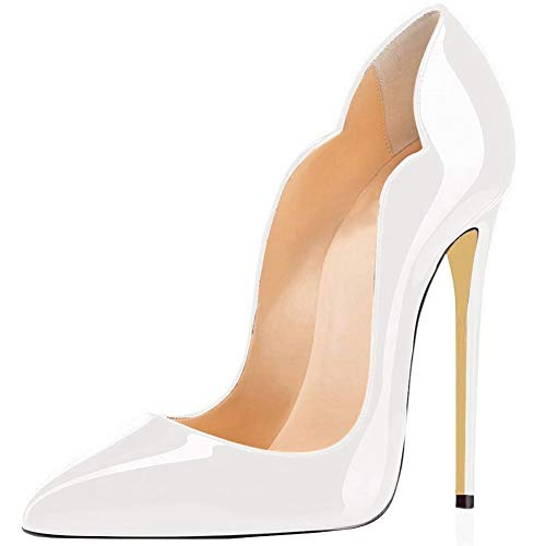 Comfity Stiletto Pumps Heel Pointed Shoes for Women Sexy All Patent Leather Pump High-Heeled Basic Shoe 12CM Thick Elegant Wedding Party Queen Heels White 7