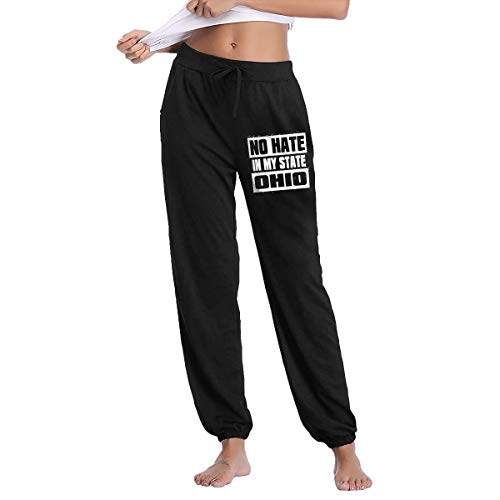 Womens No Hate in My State Ohio Sweatpants with Pockets Yoga Jogger Pants Black ()