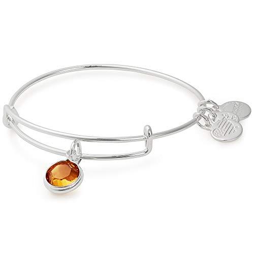 (Alex and Ani Women's Swarovski Color Code Bangle Bracelet November/Topaz Color/Shiny Silver One Size)