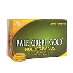 Alliance Rubber 20125 Pale Crepe Gold Rubber Bands Size #12, 1 lb Box Contains Approx. 3850 Bands (1 3/4' x 1/16', Golden Crepe)