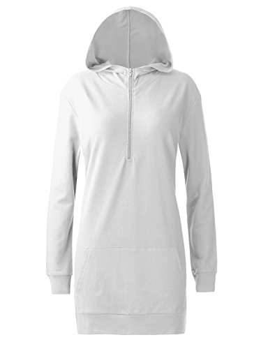Regna X Love Coated for Women Long Sleeve Work-Out Casual Hoodie Dress White L