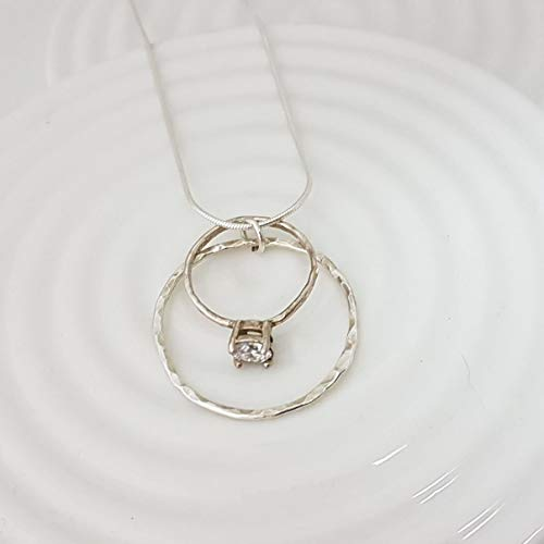 Karma Circle Wedding Ring Holder Necklace in Sterling Silver (Sterling Holders)