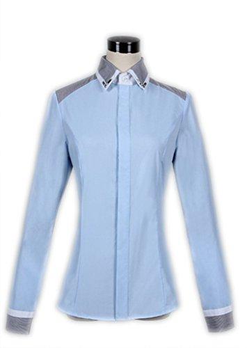 Moulante Commercial Courts Diamant Femme Col Manches Chemise Blouse Boutonn Bleu qEtwHZw