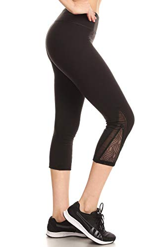 Shosho Womens Yoga Capris Sports Leggings Activewear Bottoms With Contrast Mesh & Lace Inserts Black - Leggings Womens Bottom Capri Lace