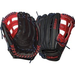 Wilson A2000 Hanley Ramirez Game Model Outfield Baseball Glove, Black/Red, Right Hand Thrower