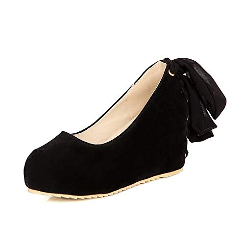 Heel Beige Fall Suede Zapatos de Black Wedge Basic Talones Pump Pink Mujer Black ZHZNVX yz1P4qq