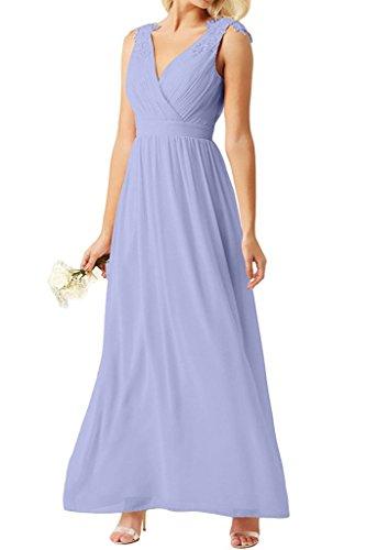 Perlen Rosa Lilac mit Chiffon Braut Brautmutterkleider Lang Marie La Promkleider Applikation Abendkleider Spitze qtE84fn