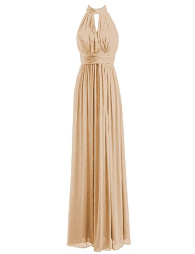 Bridesmaid Dresses Long Prom Dress Chiffon Halter Evening Gowns Pleat Wedding Party Dress Gold M