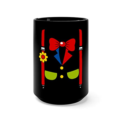 Clown Costume Funny Circus Halloween Costumes Mugs Cups Ceramic 15oz Black ()