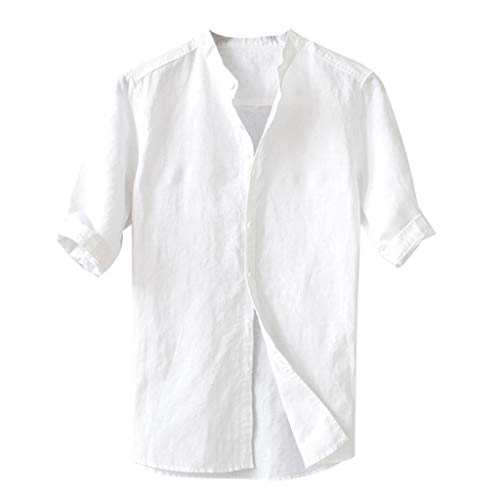 iHPH7 Shirts Fashion Casual Slim Fit Summer Breathable Solid Color Button Cotton Shirt Five-Point Sleeve Mens (L,White) -