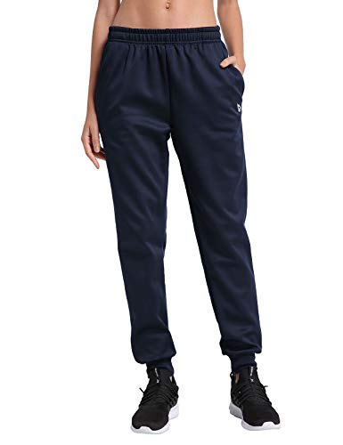 Baleaf Women's Fleece Jogger Pants Lounge Running Sweatpants with Pockets Navy Size S