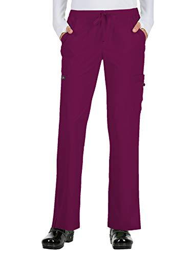 KOI Basics Women's Holly Low Rise Straight Leg Scrub Pant Medium Tall Wine