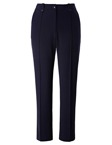 Chicwe Women's Stretch Plus Size streight Leg Pants With Double Tabs Waistband Navy, 16 Classic Shirt & Wide Leg Pants