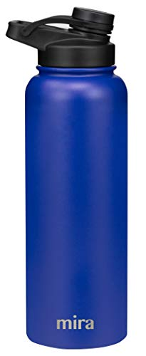 MIRA 40 oz Stainless Steel Insulated Sports Water Bottle | Metal Thermos Flask Keeps Cold for 24 Hours, Hot for 12 Hours | BPA-Free Spout Lid Cap | Blue