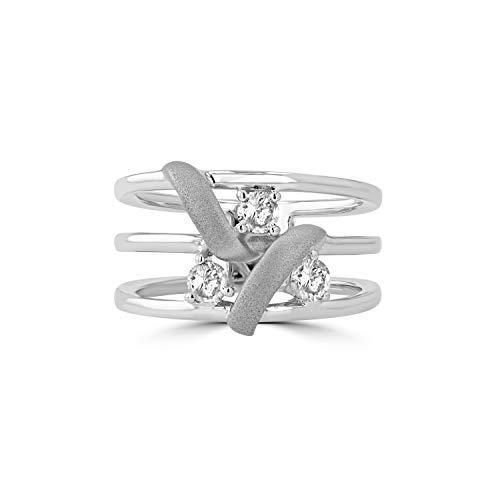 Sandblast Gold 14k White - Eleganti 14K White Gold Ring with a Sandblast Finish & Natural Diamonds for Women